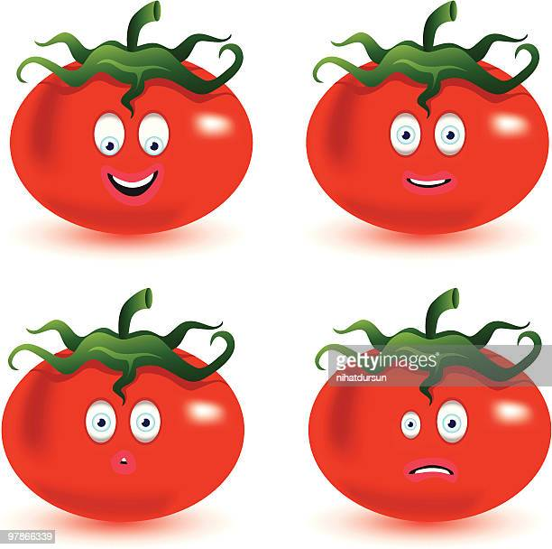 Fun tomatoes with facial expression