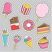 Fun trendy vintage sticker dessert fashion badges