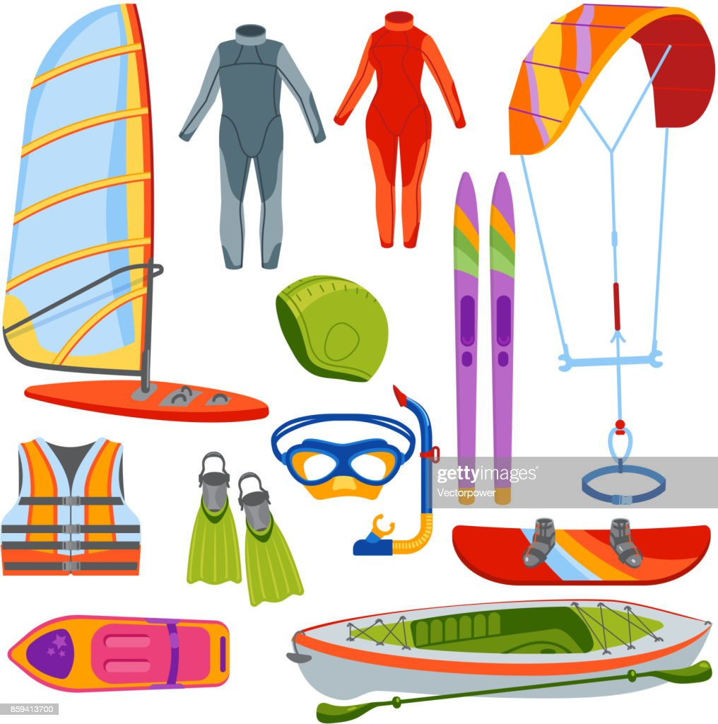 Fun water extreme sport kiteboarding, surfer., sailing leisure sea activity summer recreation extreme vector illustration