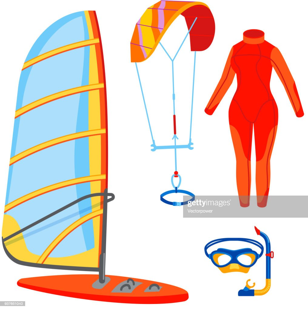 Fun water extreme sport kiteboarding surfer sailing leisure sea activity summer recreation extreme vector illustration