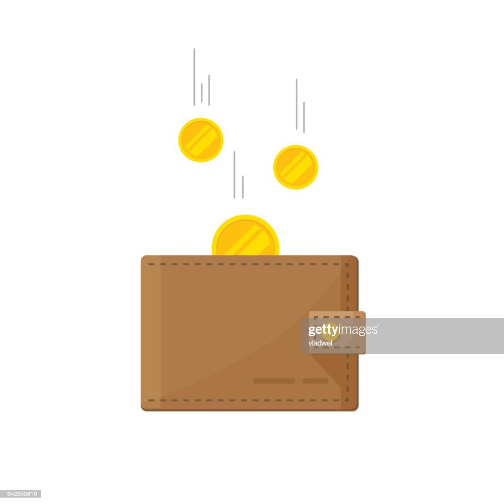 Fund savings, cash earnings, financial success, getting wealth, salary income icon isolated on white