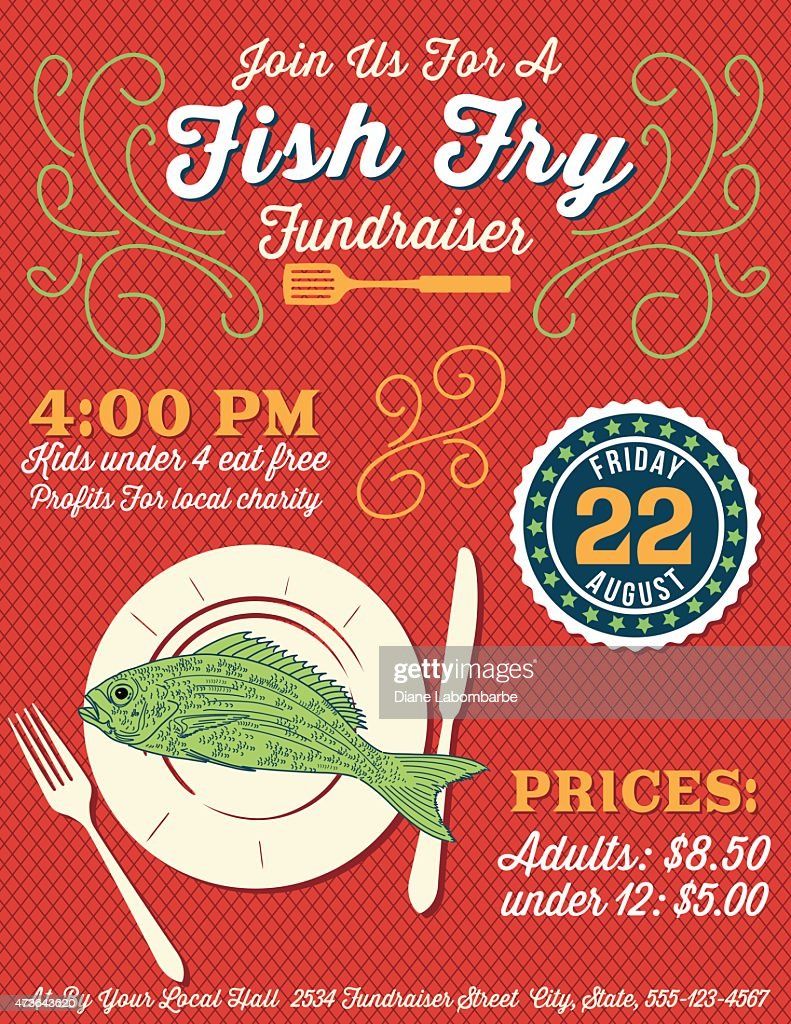 fundraiser fish fry poster template vector art