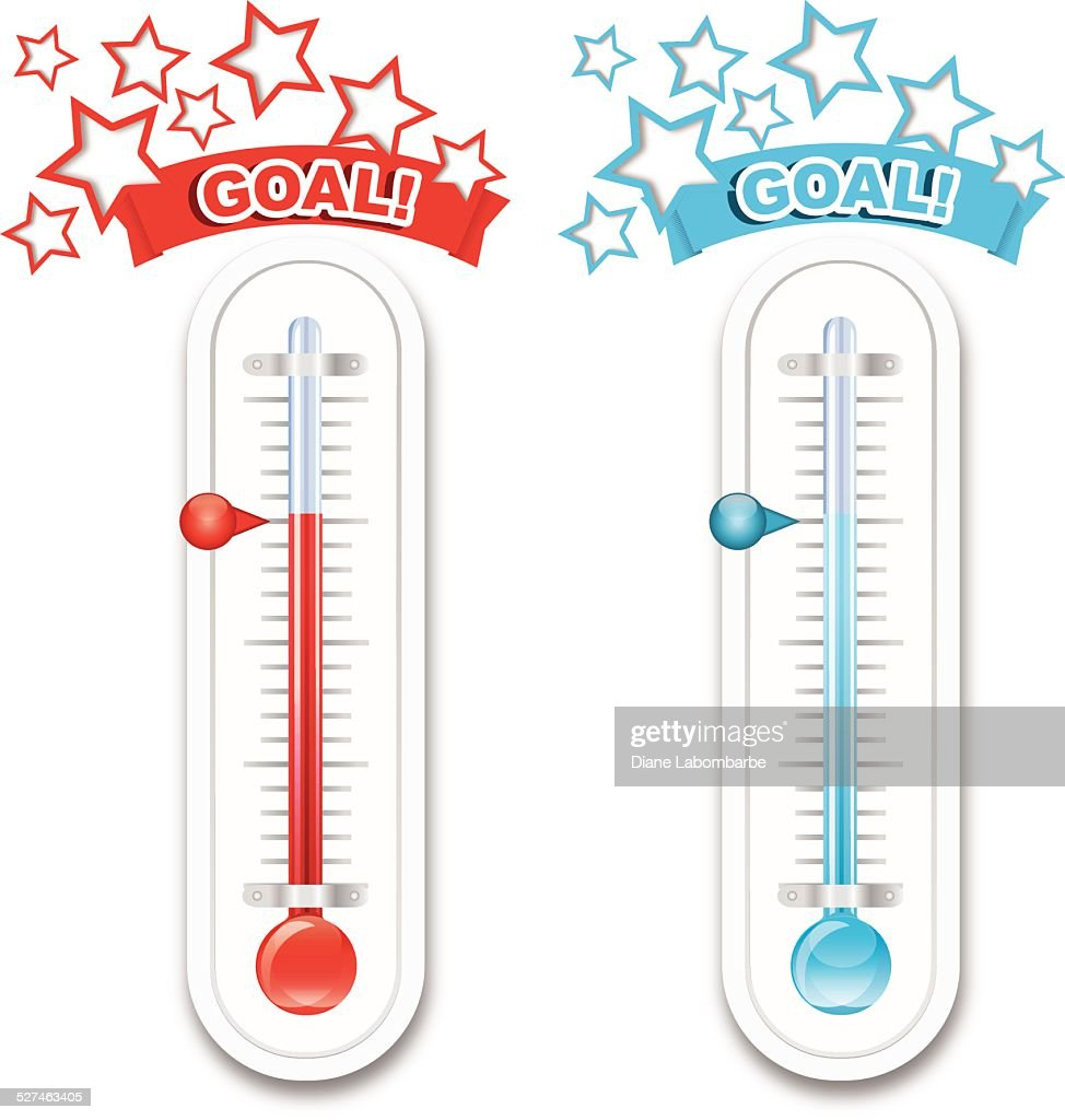 Fundraiser goal thermometers vector art getty images for Charity thermometer template