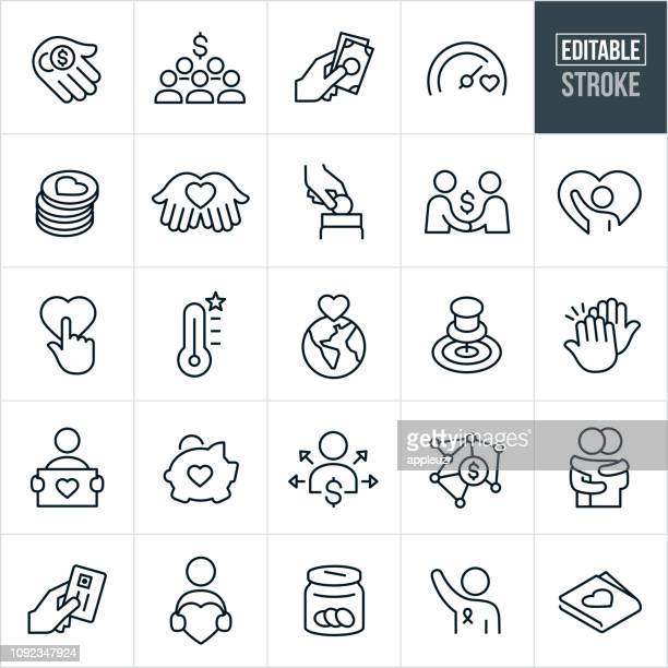fundraiser line icons - editable stroke - charitable donation stock illustrations