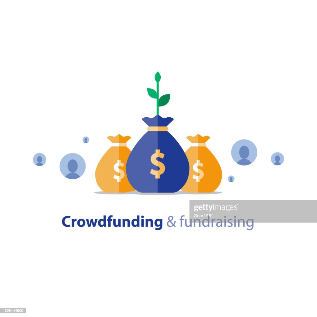 Fundraising campaign, crowdfunding concept, charity donation, vector illustration
