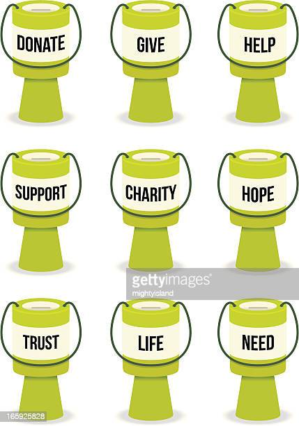 fundraising collection tins with text - fundraising stock illustrations
