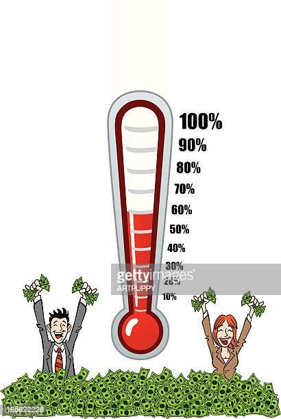 調達温度計 - ファンドレイジング点のイラスト素材/クリップアート素材/マンガ素材/アイコン素材
