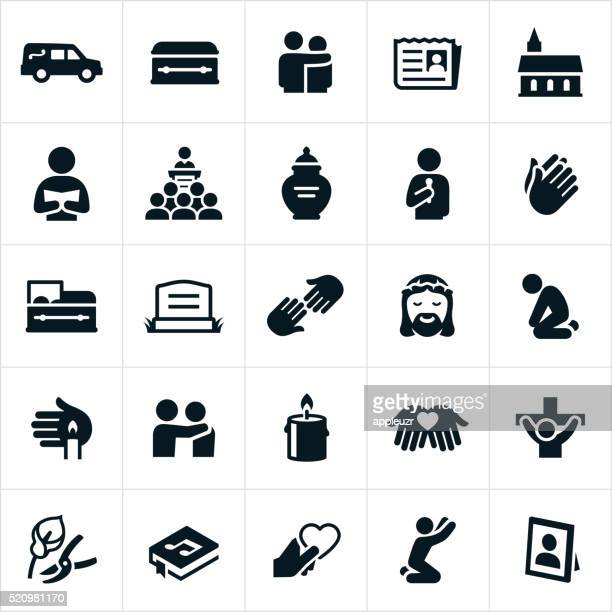 funeral and burial icons - christianity stock illustrations
