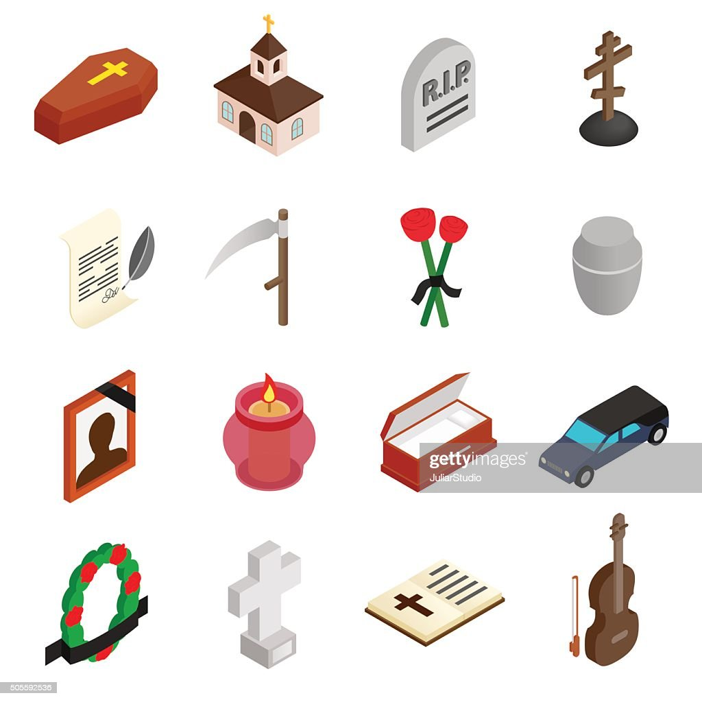 Funeral and burial isometric 3d icons