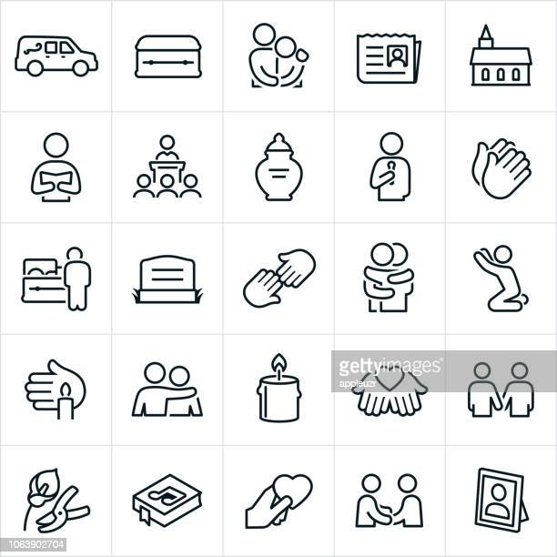 funeral icons - terminal illness stock illustrations, clip art, cartoons, & icons
