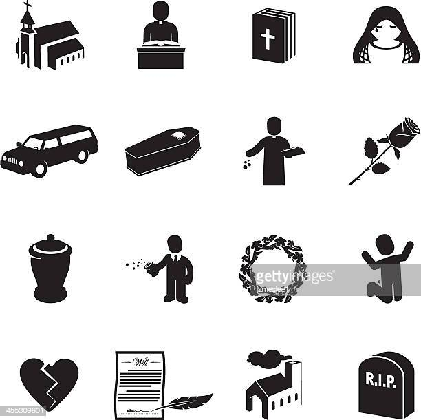 funeral icons - rest in peace stock illustrations