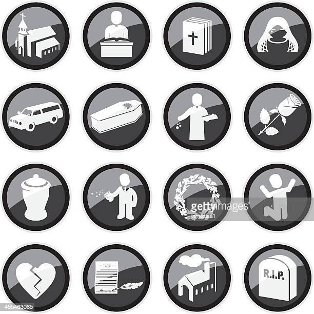 funeral icons - crematorium stock illustrations