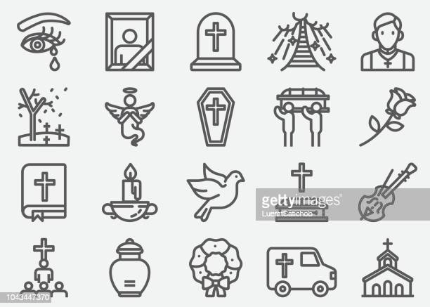 funeral line icons - death stock illustrations