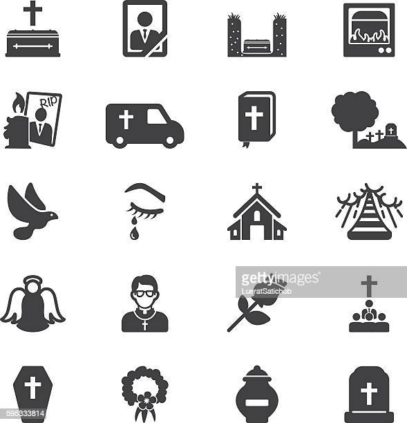 funeral silhouette icons | eps10 - terminal illness stock illustrations, clip art, cartoons, & icons