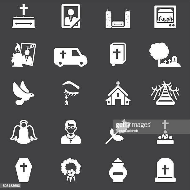 funeral white silhouette icons | eps10 - terminal illness stock illustrations, clip art, cartoons, & icons