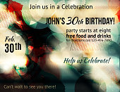 Funky abstract party invitation template