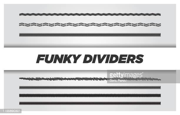 funky and stylish grunge text divider or separator line set - division stock illustrations
