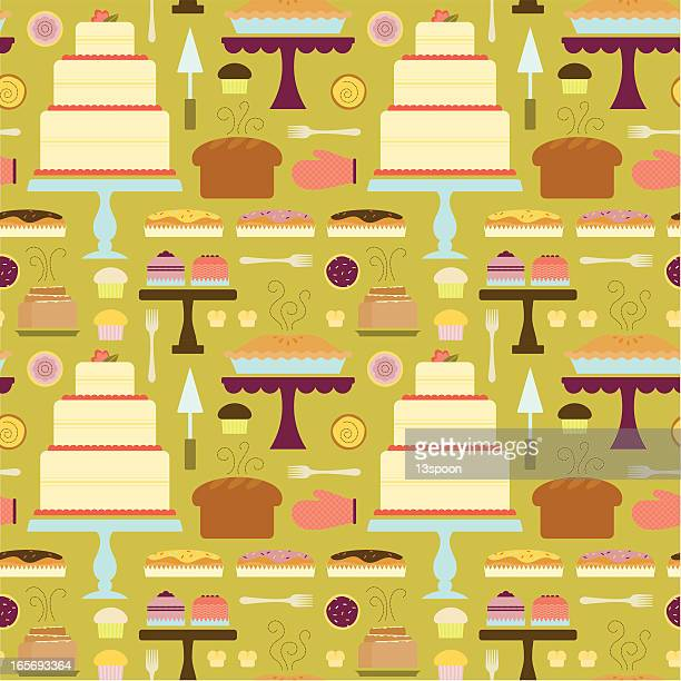 funky bakery pattern - making a cake stock illustrations, clip art, cartoons, & icons