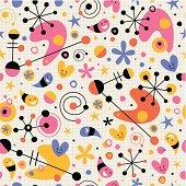 Funky cartoon retro note book paper pattern