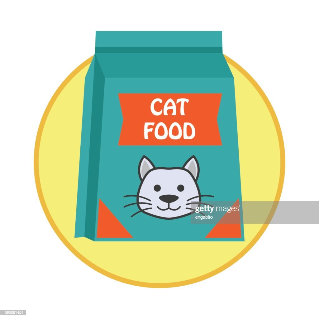 funky cat food bag / pet toys accessories. vector illustration
