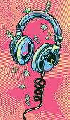 Funky colorful drawn musical headphones