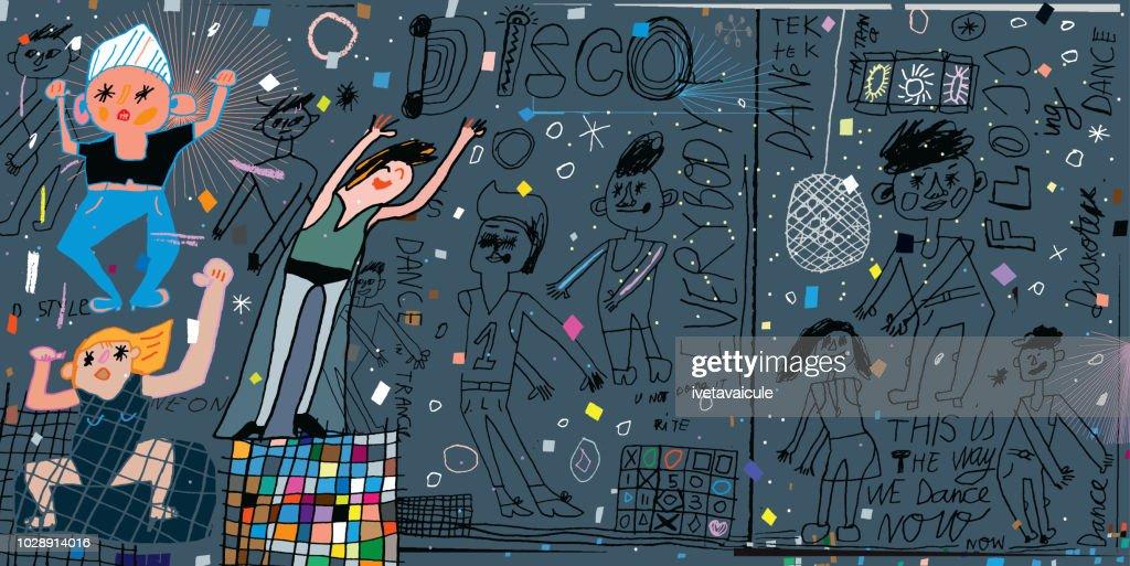 Funky disco dancers in disco lights : Stock Illustration