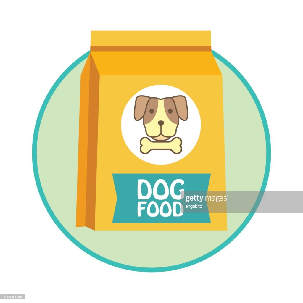 funky dog food bag / pet toys accessories. vector illustration