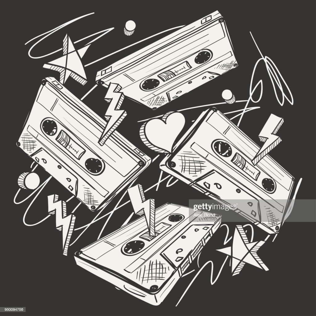Funky drawn audio cassettes