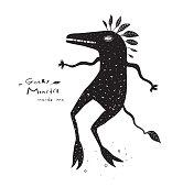 Funky Fictional Aquatic Monochrome Monster