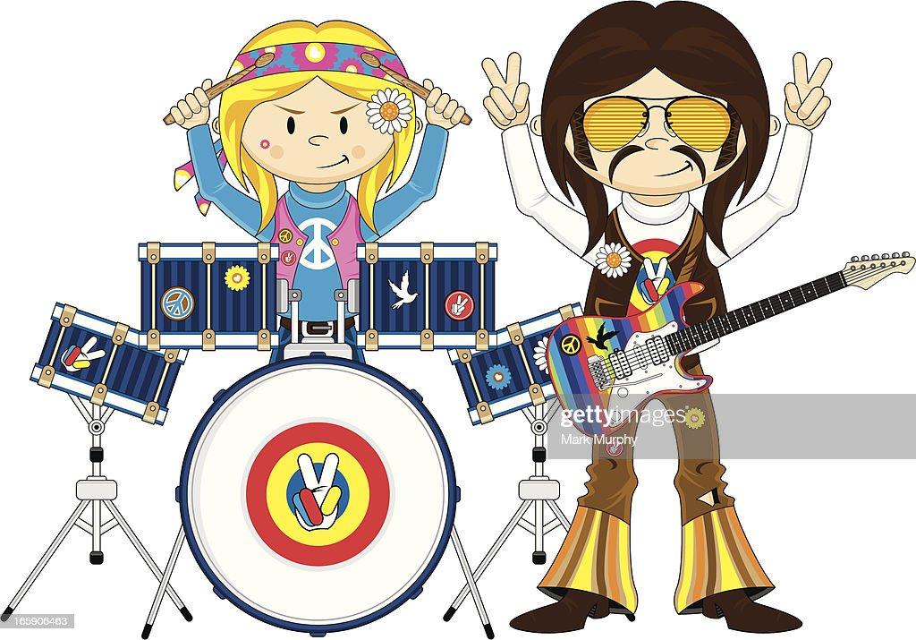 Funky Guitarist & Hippie Girl Drummer