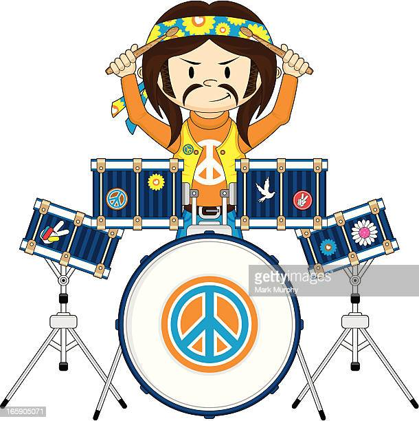 Funky Hippie Boy Playing Drums