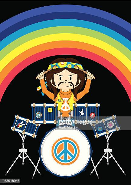 funky hippie boy playing drums - snare drum stock illustrations, clip art, cartoons, & icons