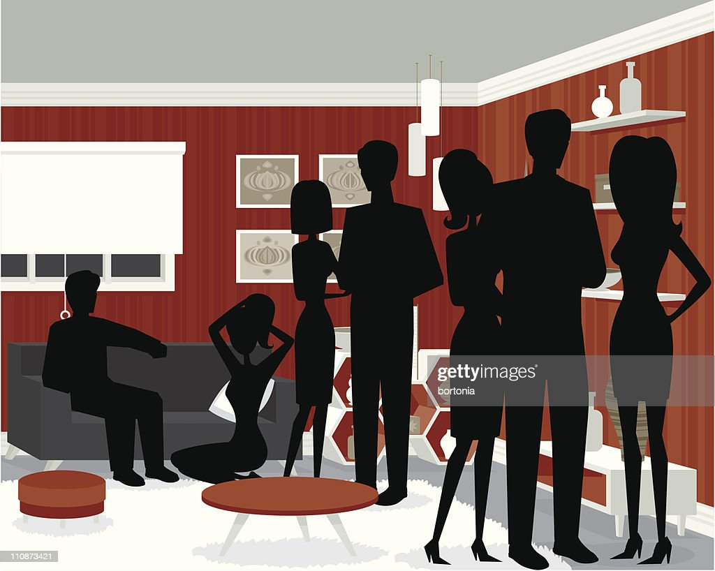 Funky Party Silhouettes : stock illustration