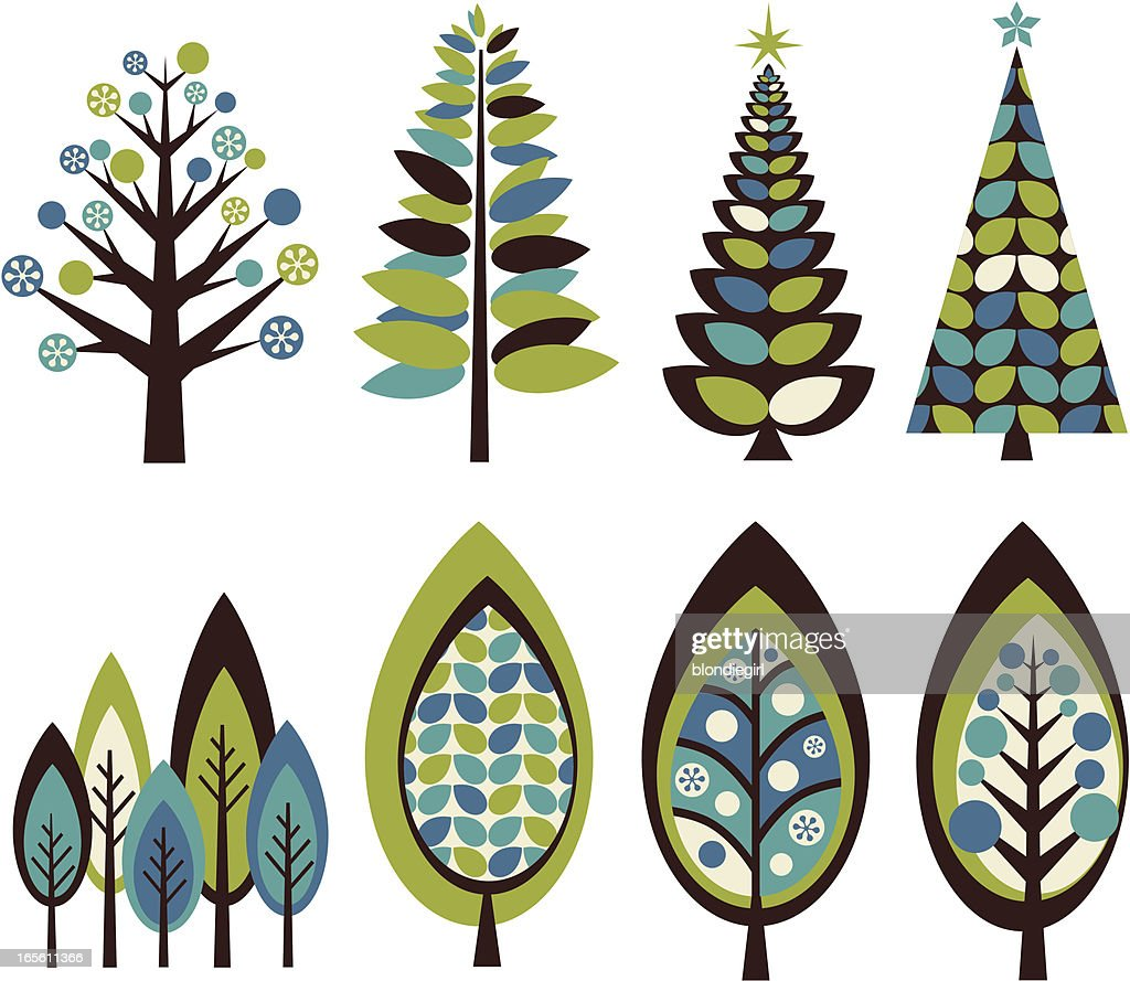 Funky Retro Christmas Trees Vector Art | Getty Images