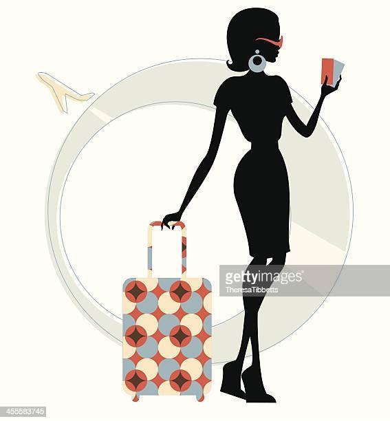 illustrations, cliparts, dessins animés et icônes de funky voyageurs - femme bcbg