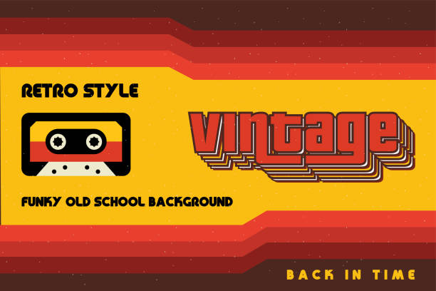 funky vintage banner with retro lines and a cassette tape - cool attitude stock illustrations