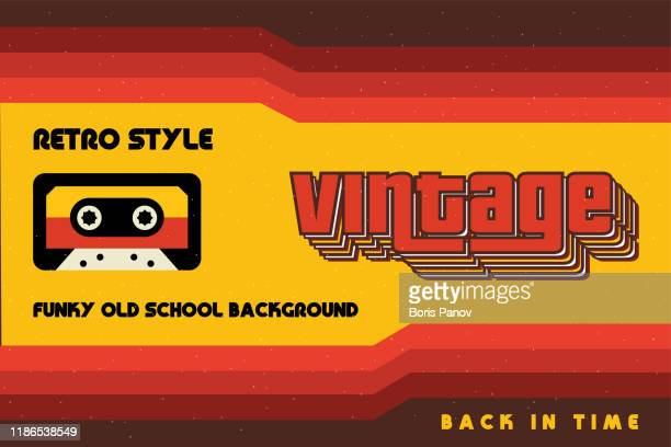 illustrazioni stock, clip art, cartoni animati e icone di tendenza di funky vintage banner with retro lines and a cassette tape - stile retrò