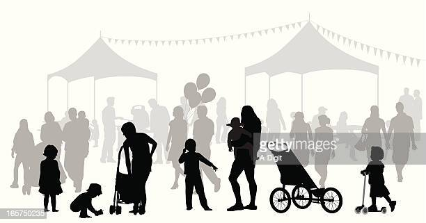 fun'n games vector silhouette - three wheeled pushchair stock illustrations, clip art, cartoons, & icons
