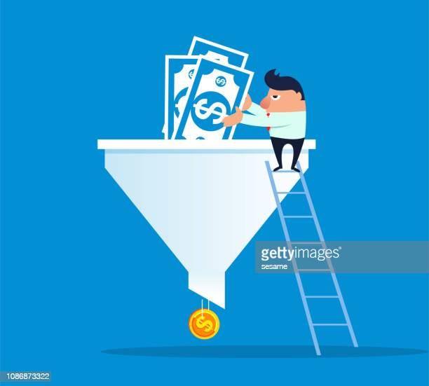 funnel and investment - funnel stock illustrations
