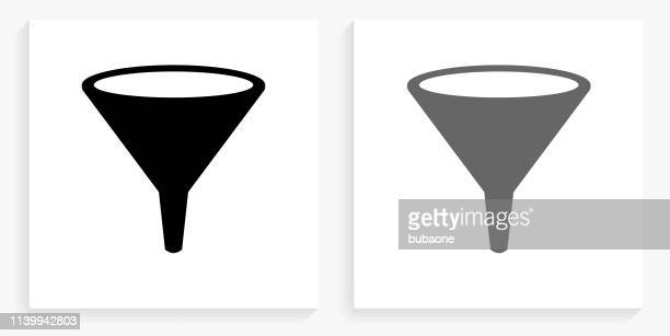 funnel black and white square icon - funnel stock illustrations