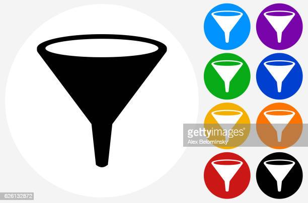funnel icon on flat color circle buttons - funnel stock illustrations