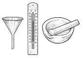 Funnel, thermometer and mortar illustration, drawing, engraving, ink, line   art, vector