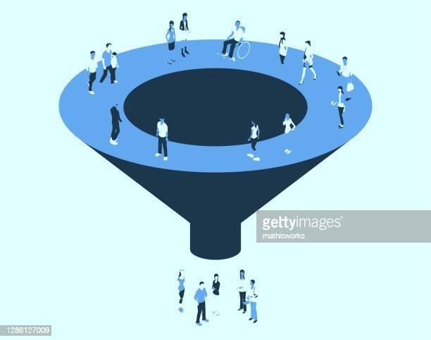 trichter mit menschen in einer blauen farbpalette - zielgruppe stock-grafiken, -clipart, -cartoons und -symbole