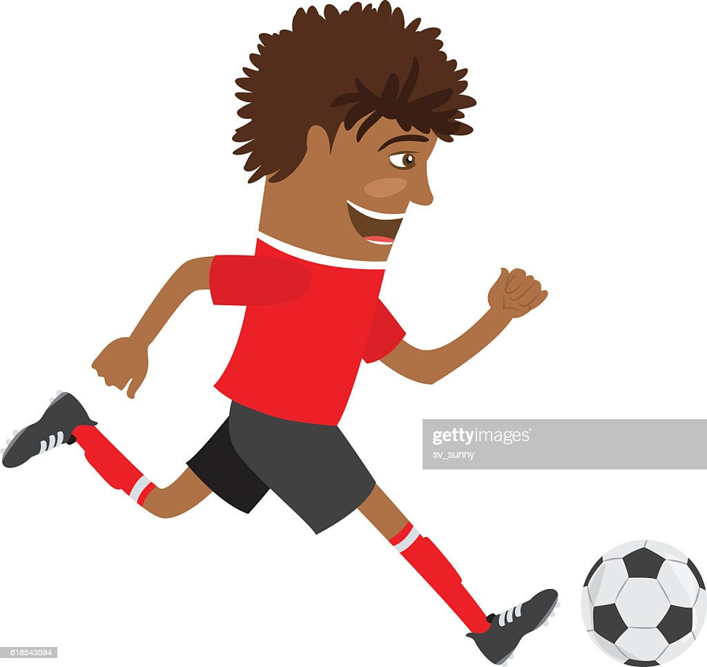 Funny African American soccer football player wearing red t-shirt