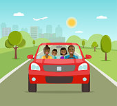Funny afro american family driving in red car on weekend holiday. Vector flat illustration
