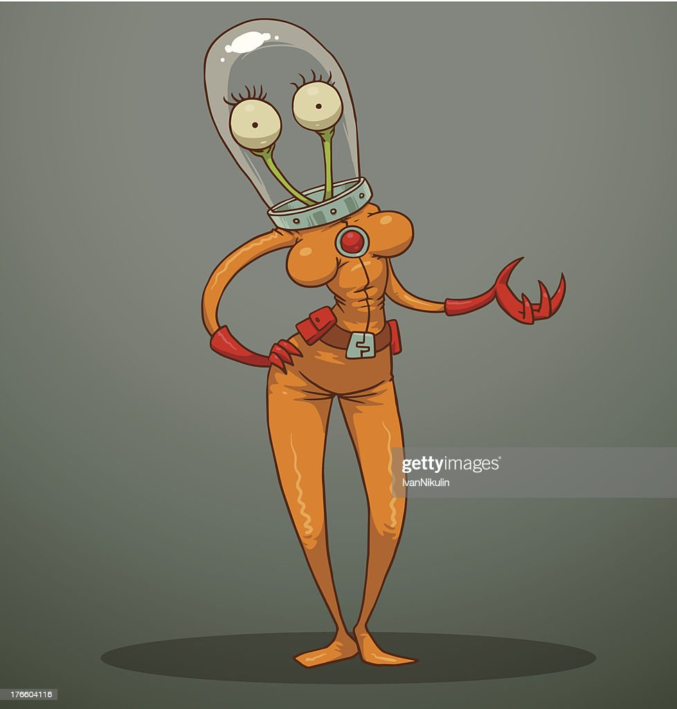 Funny alien with female breasts
