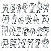 ABC Funny Alphabet Characters. Wacky Doodle Letters Design Color Set.