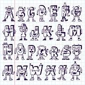 ABC Funny Alphabet Characters. Wacky Doodle Letters Design Set.