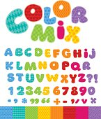Funny Alphabet for children with patchwork patterns. Cute cartoo