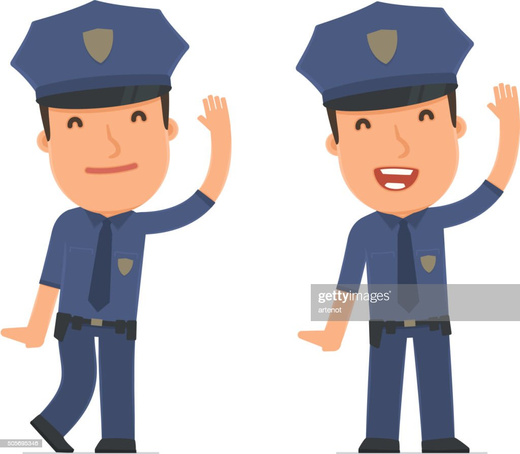 Funny and Cheerful Character Officer welcomes viewers